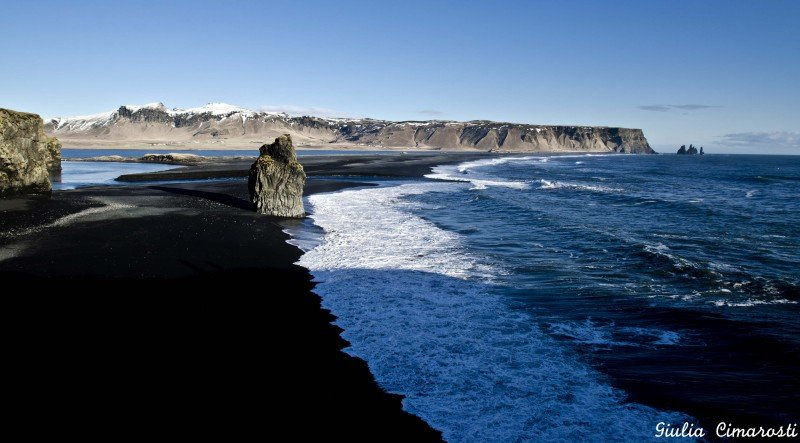 The beautiful Southern Coast of Iceland - black sand, cliffs, rock formations