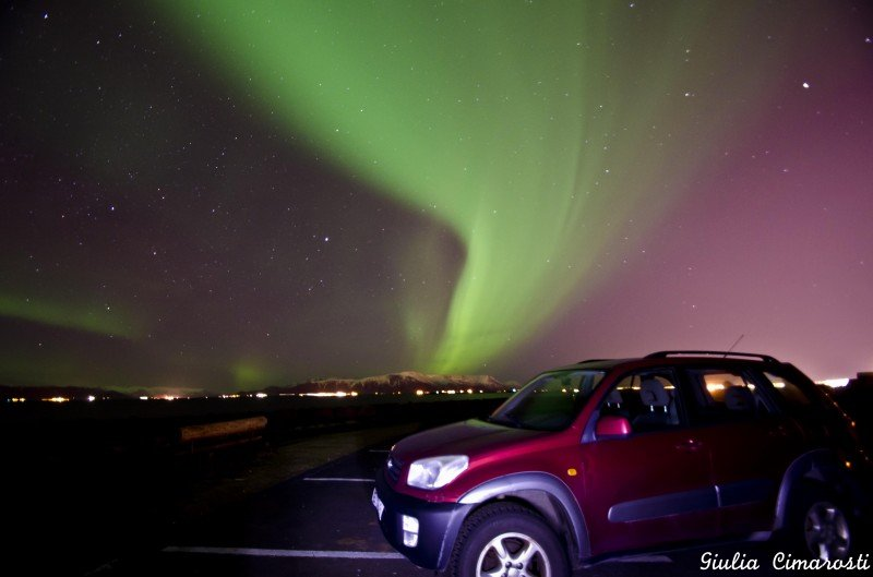 My 4x4 car from SADcars and the Northern Lights in Reykjavik!