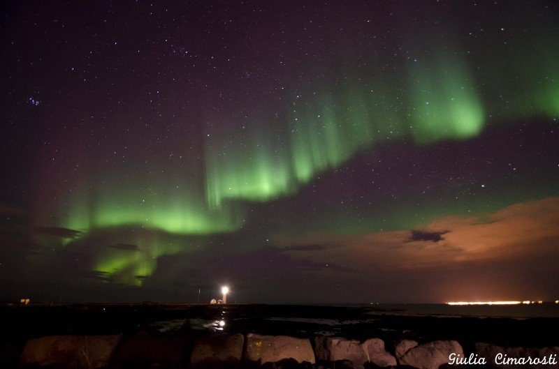 Northern Lights at Grotta Lighthouse, Reykjavik