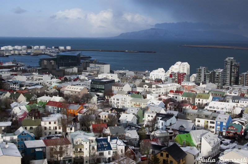 Reykjavik from above. I especially like the green house!