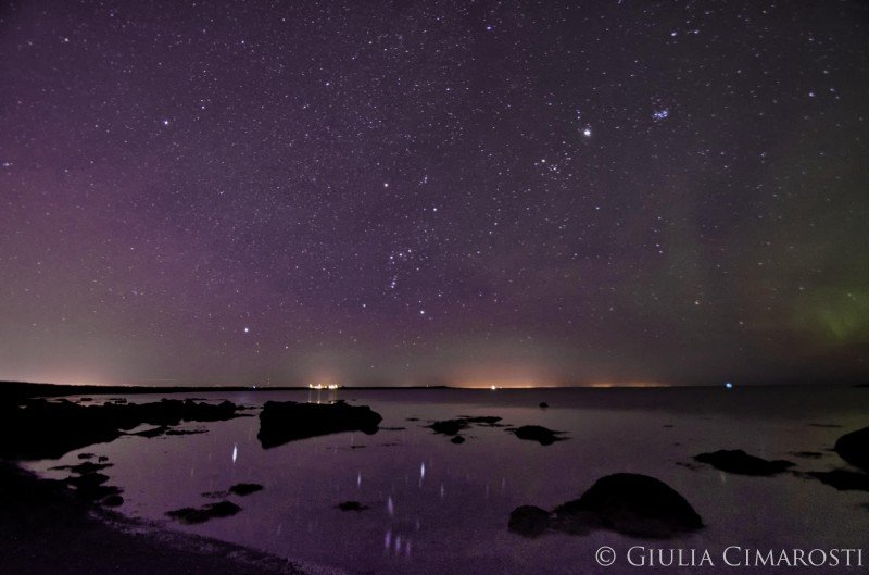 Starry sky and aurora