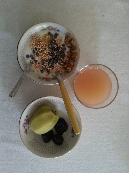 Same yogurt + black chocolate drops, grapefruit juice, kiwi and dried plums