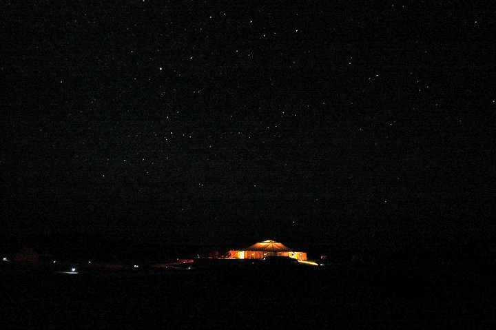 The main tent at night in Wadi Gamal, Egypt - © Giulia Cimarosti