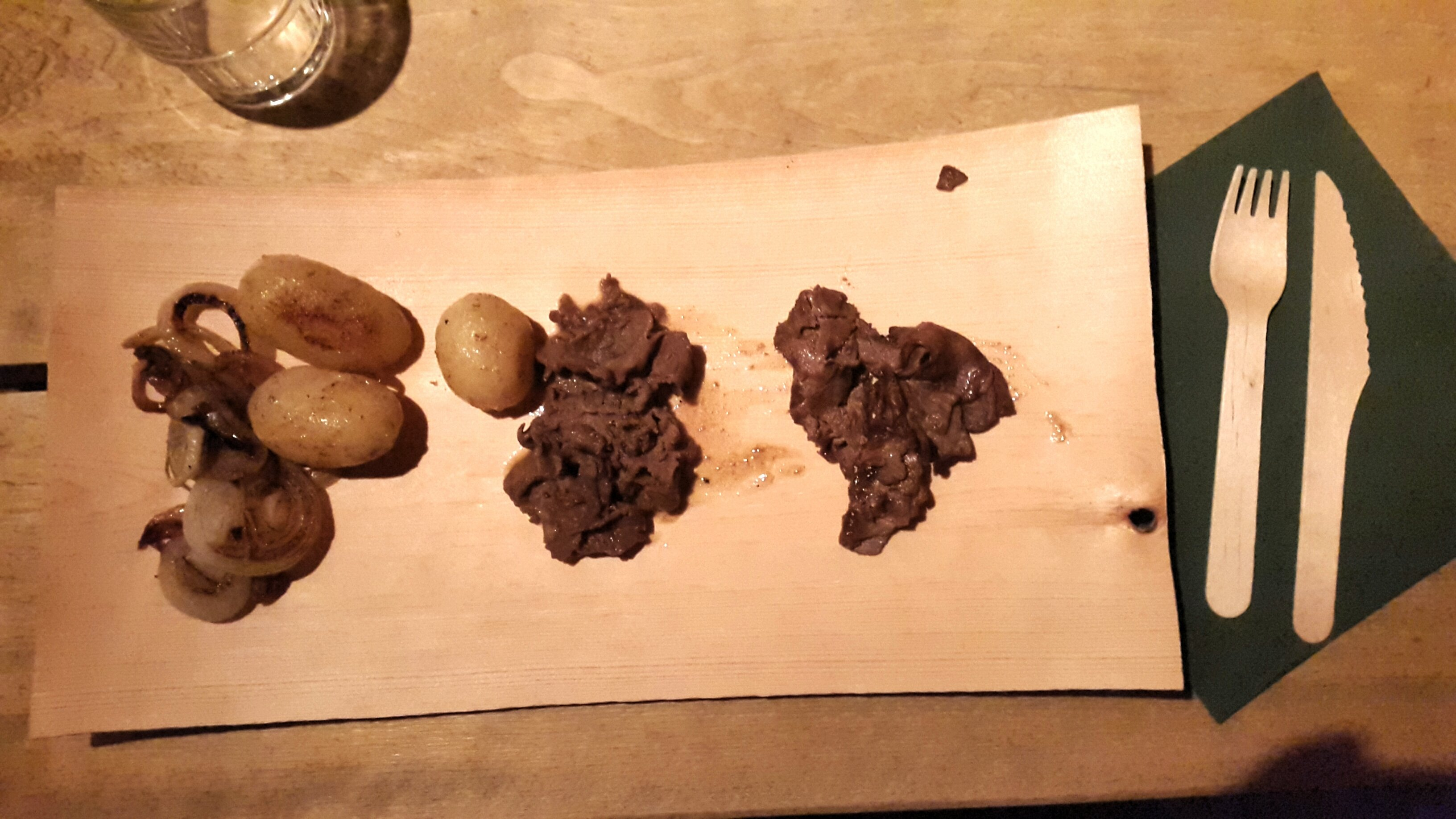 Traditional Swedish wooden plate - elk and reindeer meat