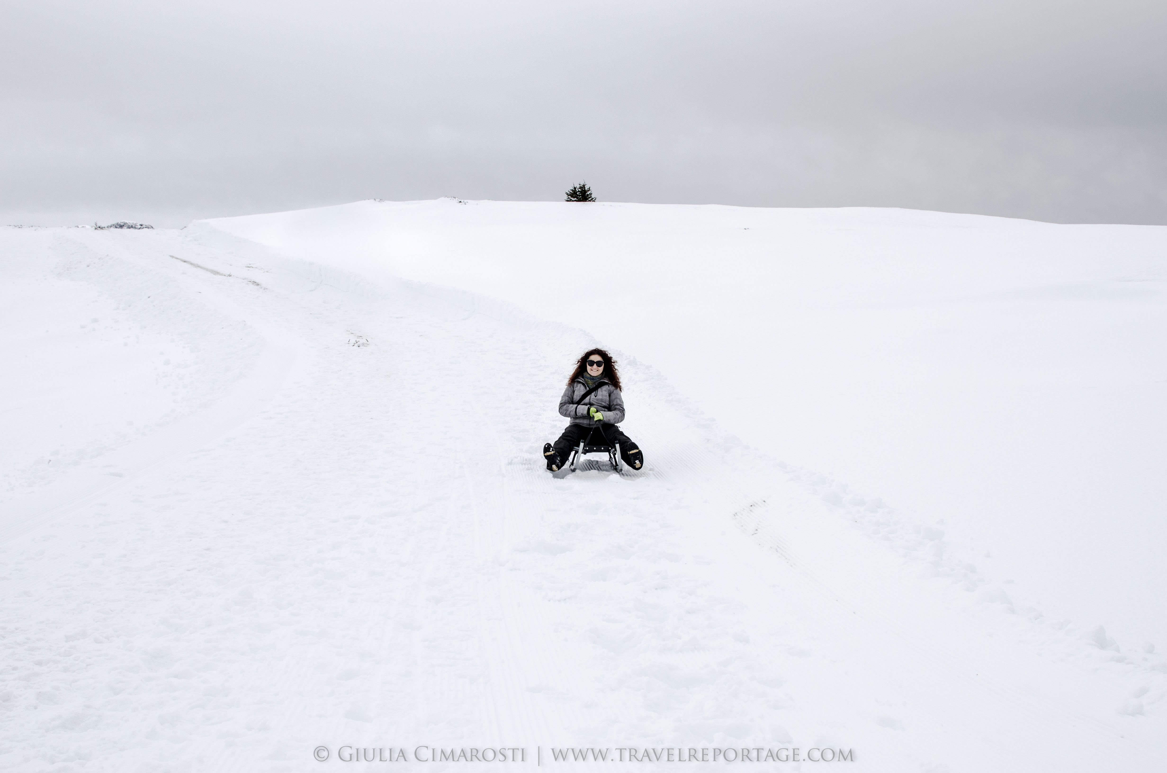Me, sledding (and scared to death)